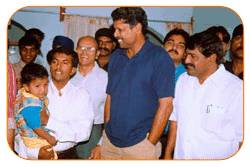 Mr. N Bitra, Friends & Family, With Mr. Kapil Dev & Sri PNV Prasad, Ex. SAAP Chairman, The occasion of Kinetic Boss Vehicle Opening at Bitra's House At Banjara Hills, Road No. 10, On 21st Oct'2002