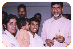 Mr N Bitra & Mrs N.P.Bitra & Bill Bitra with Ex. Chief Minister Of Andhra Pradesh, January 1st' 2003, On the occasion of New Year Greeting Wishes.